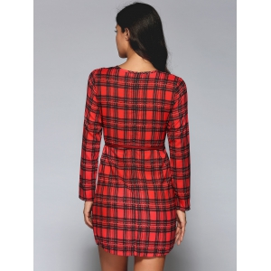 Long Sleeve Plaid A-Line Dress - RED M