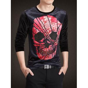 Velvet 3D Chapped Skull Print Rhinestoned Long Sleeve T-Shirt -