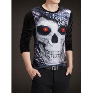 Velvet 3D Skull Print Rhinestoned Long Sleeve T-Shirt - BLACK 4XL
