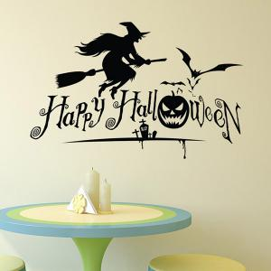 Waterproof Happy Halloween Pumpkin Witch Room Wall Sticker - BLACK