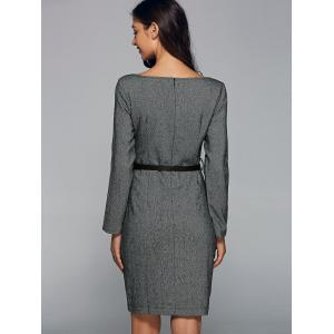 Front Button Sheath Long Sleeve Dress - GRAY 2XL
