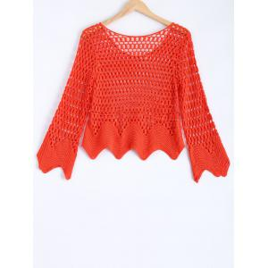 Long Sleeve Hollow Out Crochet Blouse -