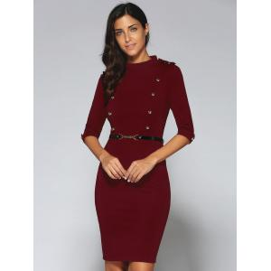 Belted Double-Breasted Work Sheath Dress - RED XL