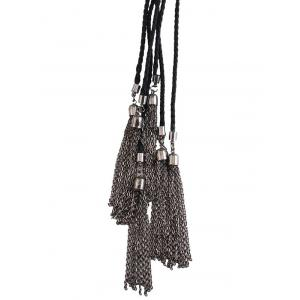 Faux Leather Rope Woven Chains Necklace - BLACK