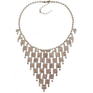 Rhinestoned Geometric Hollowed Wedding Jewelry Set -