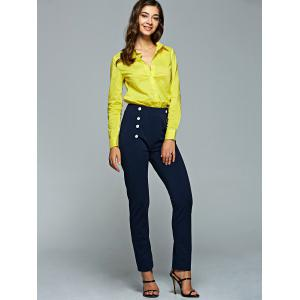 Long Sleeve Shirt and High Waisted Pencil Pants Suit -