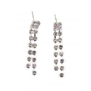Rhinestoned Geometric Hollowed Wedding Jewelry Set - SILVER AND WHITE
