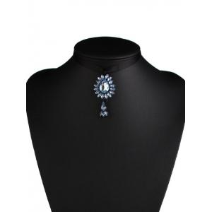 Rhinestone Water Drop Bowknot Rope Necklace -