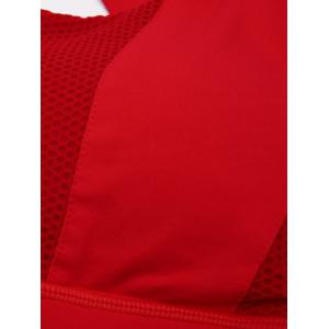 Criss Cross Backless Padded Push Up Sporty Bra - RED S