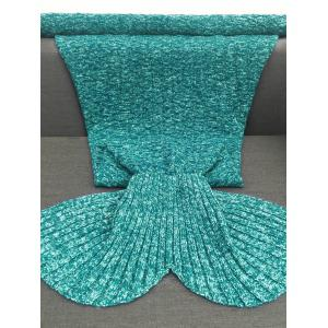 Keep Warm Acrylic Knitted Sofa Mermaid Tail Style Blanket - LAKE GREEN