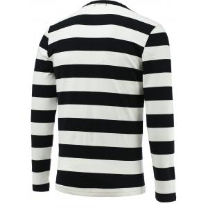 Long Sleeve Round Collar Striped Tee - BLACK L