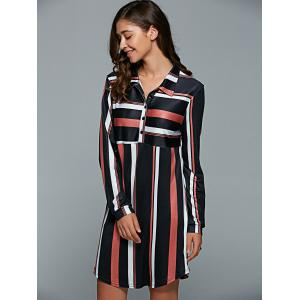 Striped Long Sleeve Shirt Dress - COFFEE XL