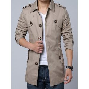 Epaulet and Belt Embellished Single-Breasted Turn-Down Collar Coat -