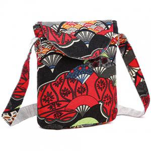 Cotton Floral Print Color Splicing Crossbody Bag - RED
