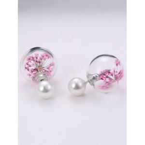 Faux Pearl Dry Sakura Glass Earrings -