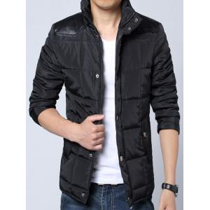 Stand Collar PU-Leather Spliced Zip-Up Padded Jacket -