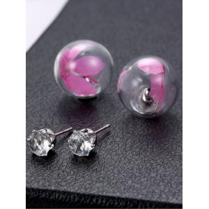 Rhinestone Dry Flower Glass Ball Earrings -