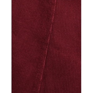 Popper Button Down A Line Skirt - WINE RED S