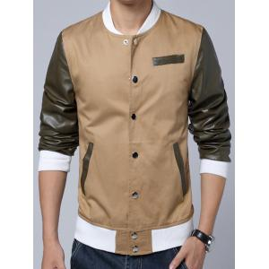 Stand Collar PU-Leather Splicing Design Color Block Jacket -