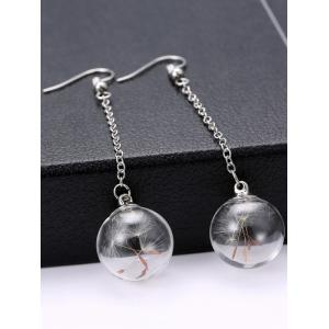 Glass Dry Dandelion Chain Drop Earrings -