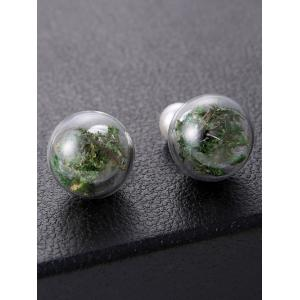Faux Pearl Glass Dry Plant Earrings - GREEN