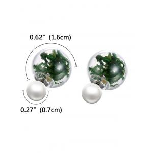 Faux Pearl Glass Dry Plant Earrings -