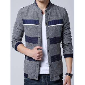 Stand Collar Stripe Splicing Design Knit Blends Cardigan - GRAY 3XL