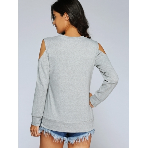 Long Sleeve Cold Shoulder Pullover Sweatshirt -