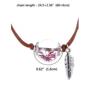 Faux Leather Dry Sakura Leaf Necklace - PINK