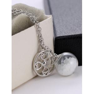 Glass Ball Heart Round Pendant Necklace -