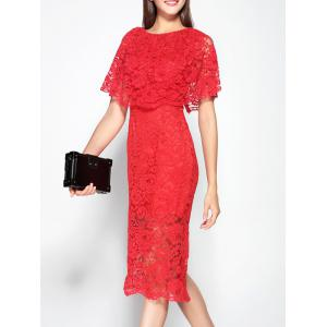 Cape Sleeve Hollow Out Back Furcal Dress -