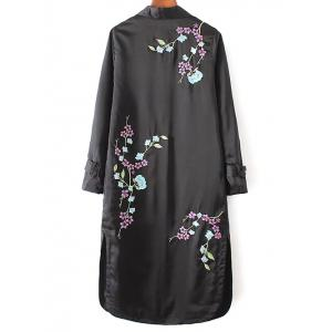 Embroidered Trench Coat - BLACK L