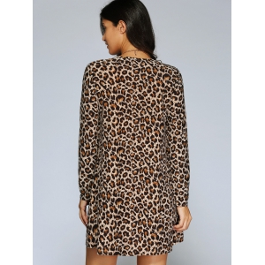 Long Sleeve Leopard Print Shift T-Shirt Dress - LEOPARD L