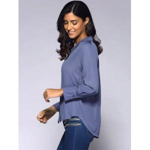 Notched Collar Long Sleeve Shirt -
