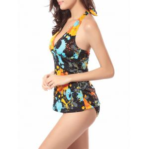Paint Splatter Print Halter Tankini Set - BLACK XL