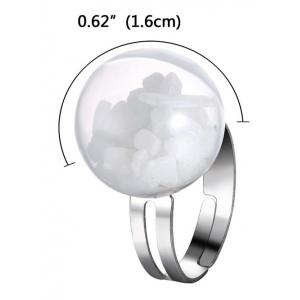 Glass Ball Stone Cuff Ring -
