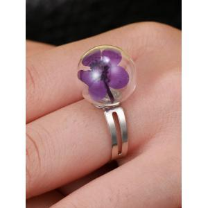 Glass Ball Dry Flower Cuff Ring - PURPLE ONE-SIZE