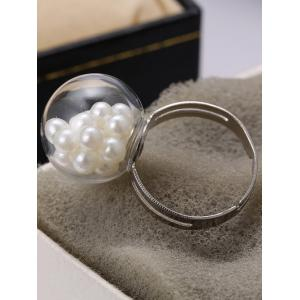 Glass Ball Faux Pearl Engagement Cuff Ring -