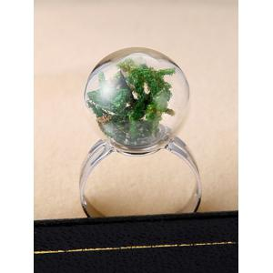 Glass Ball Dry Plant Cuff Ring - GREEN ONE-SIZE