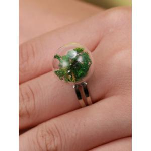 Glass Ball Dry Plant Cuff Ring -