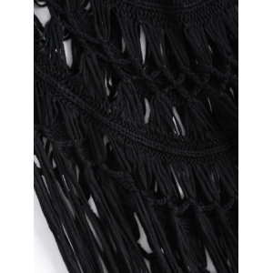 Strappy Fringe Knitted One Piece Swimsuit - BLACK XL