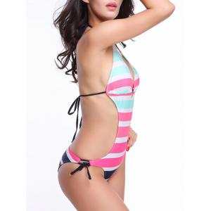 Striped Low Cut Backless Halter Monokini -