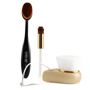 3 Pcs/Set Facial Cleansing Brush + Nose Clean Brush + Foundation Brush - COLORMIX