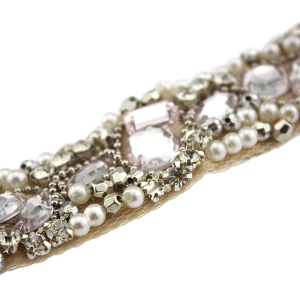 Elegant Rhinestoned Beading Lace Headband For Women - CHAMPAGNE