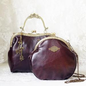 Metal Vintage Kiss Lock Closure Crossbody Bag - DEEP BROWN