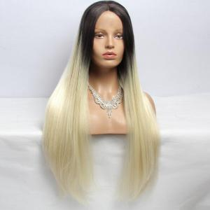 Long Straight Centre Parting Synthetic Double Color Lace Front Wig - BLACK/GOLDEN