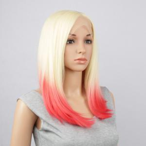 Long Straight Side Parting Synthetic Double Color Lace Front Wig - GOLD/RED