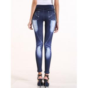 Fake Bleach Wash Jeans High Waisted Pants -
