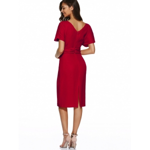 V Neck Knot Knee Length Dress With Short Sleeves - RED S