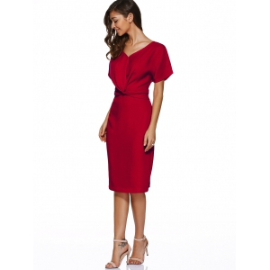 V Neck Knot Knee Length Dress With Short Sleeves - RED M